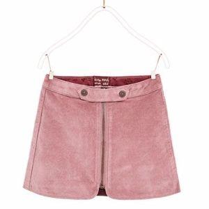 Zara girls pink velour skirt with front zipper
